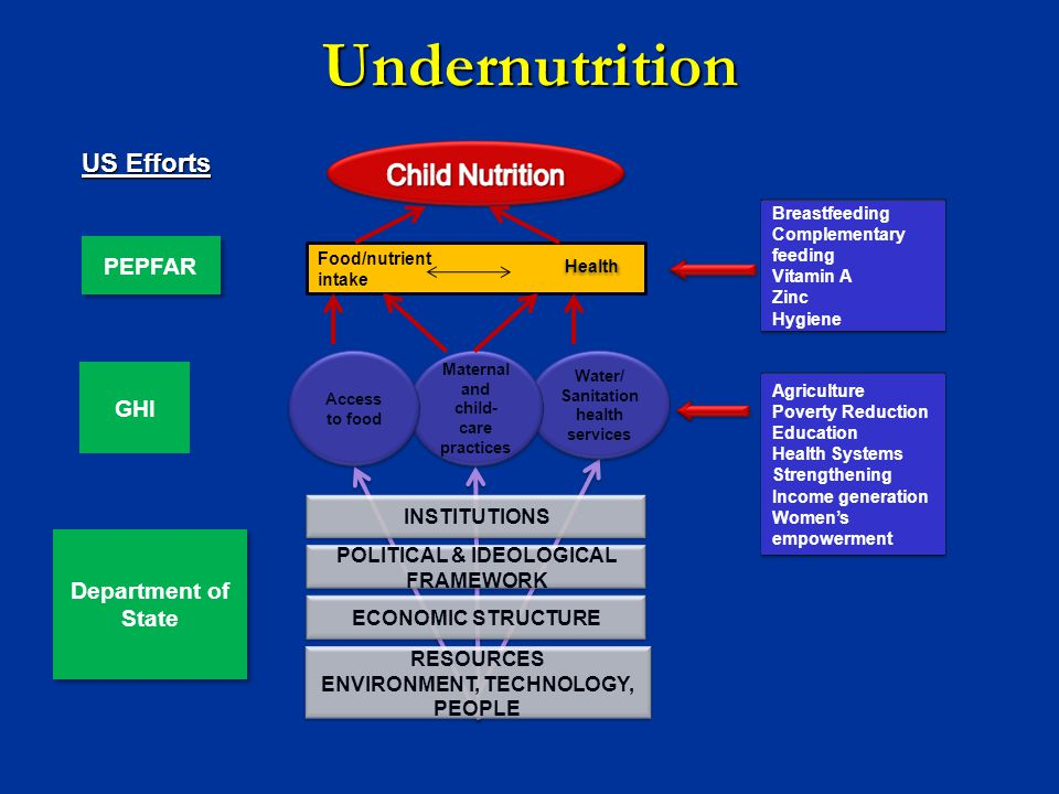 Undernutrition US Efforts PEPFAR GHI Department of State INSTITUTIONS