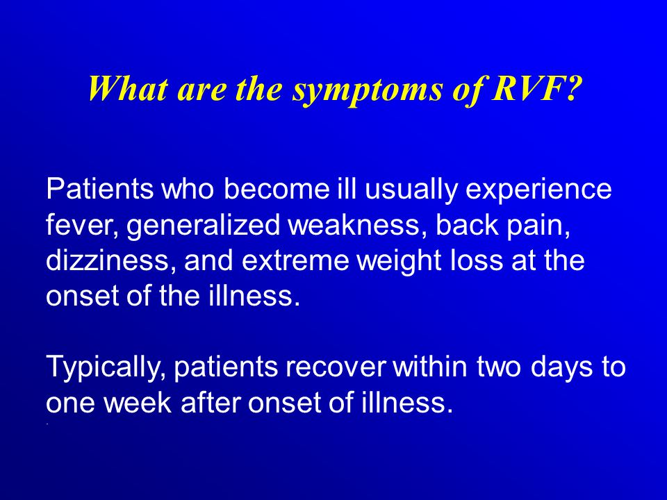 What are the symptoms of RVF