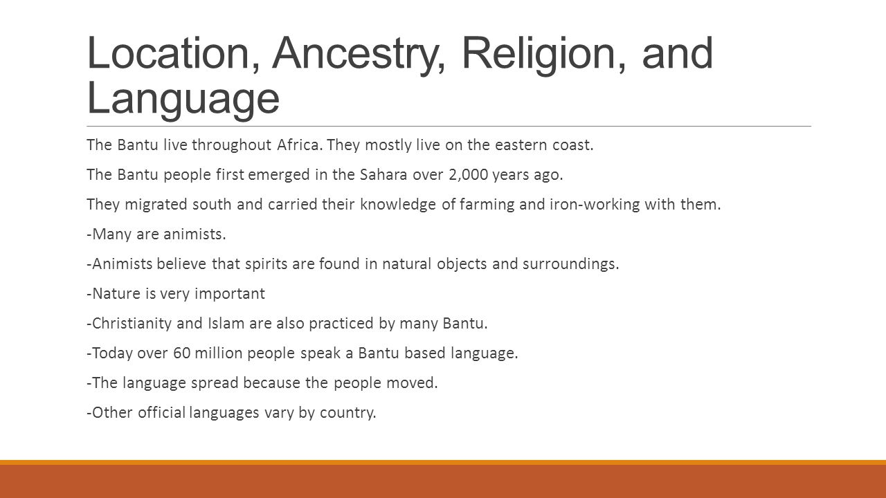 Location, Ancestry, Religion, and Language