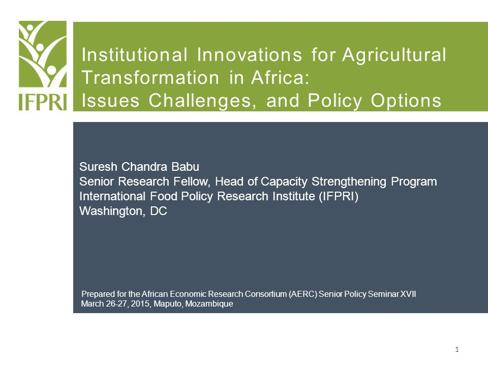 Institutional Innovations for Agricultural Transformation in Africa: Issues Challenges, and Policy Options