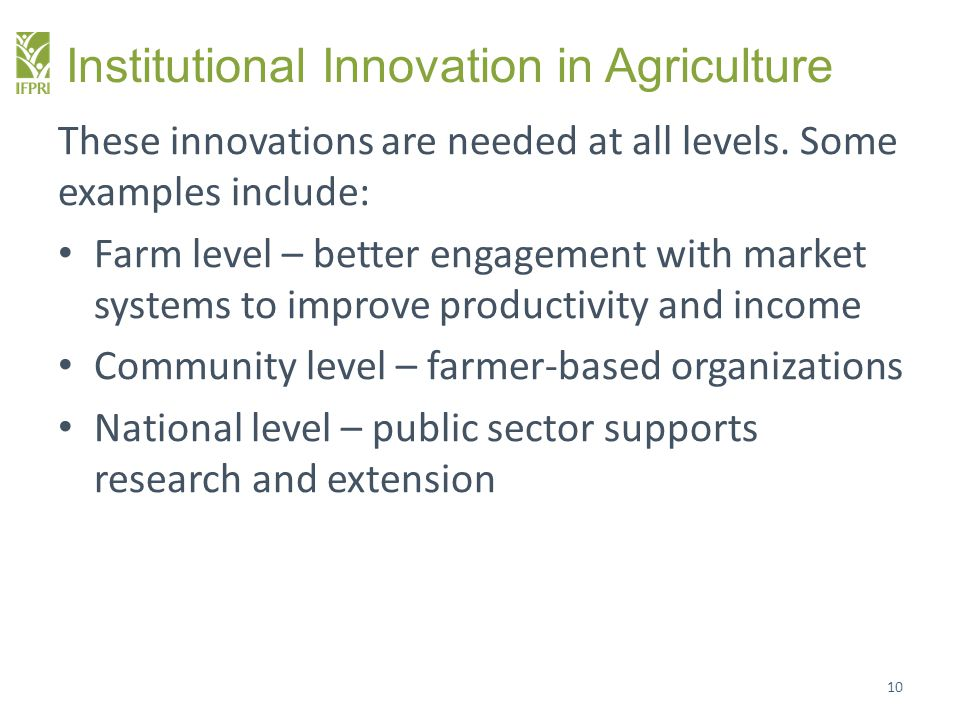 Institutional Innovation in Agriculture