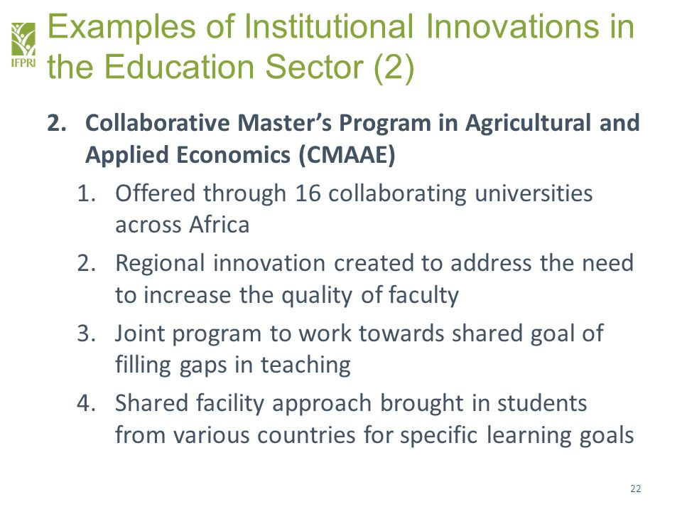 Examples of Institutional Innovations in the Education Sector (2)