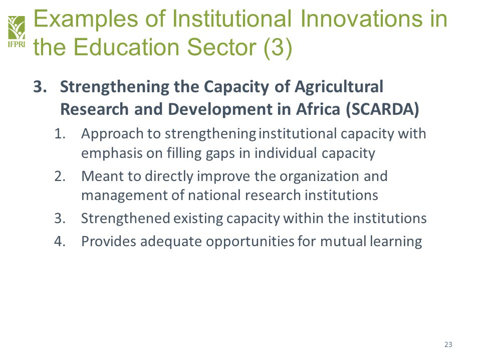 Examples of Institutional Innovations in the Education Sector (3)