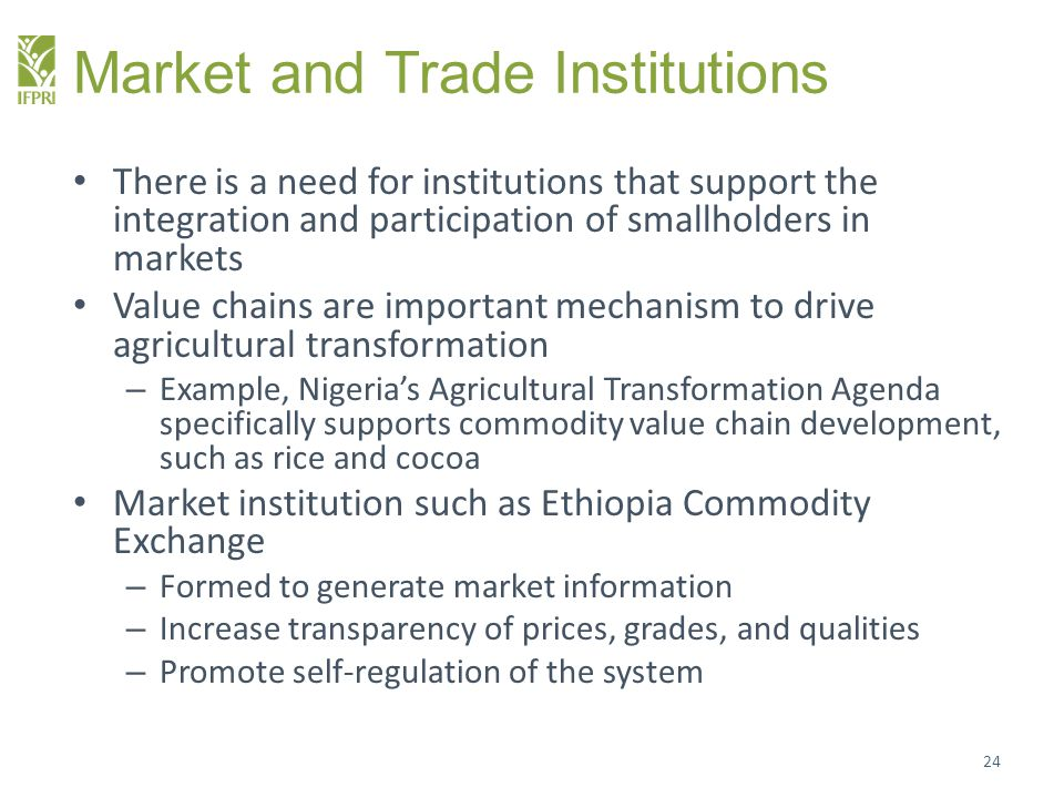 Market and Trade Institutions