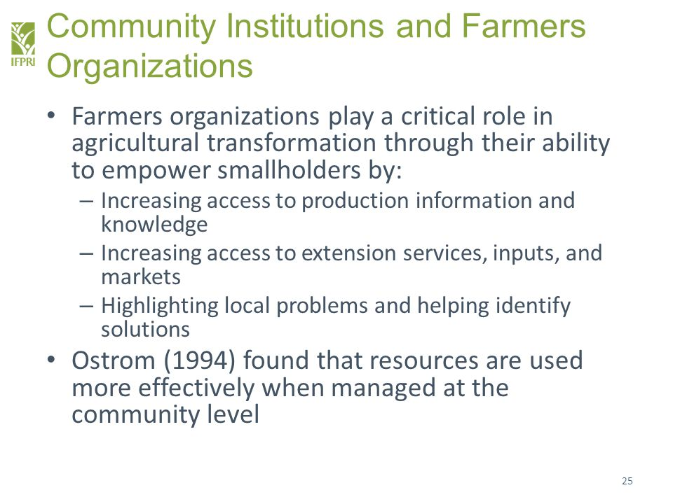 Community Institutions and Farmers Organizations