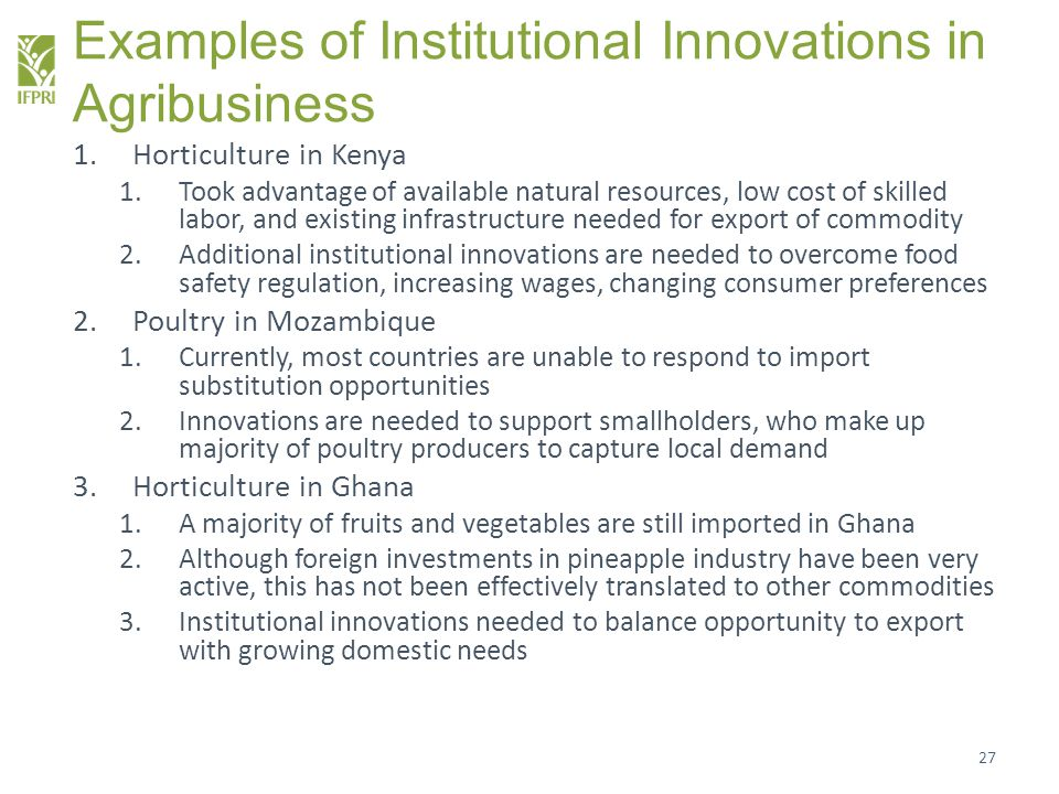 Examples of Institutional Innovations in Agribusiness