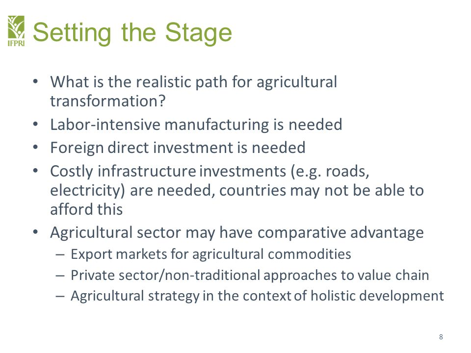 Setting the Stage What is the realistic path for agricultural transformation Labor-intensive manufacturing is needed.