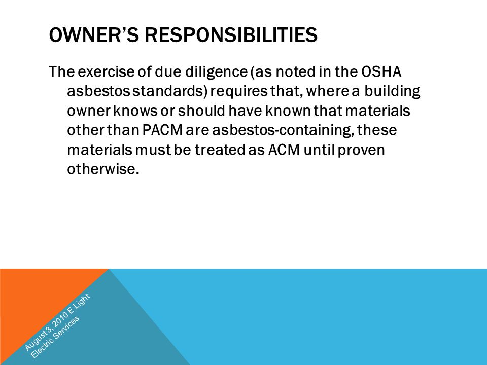 Owner's Responsibilities