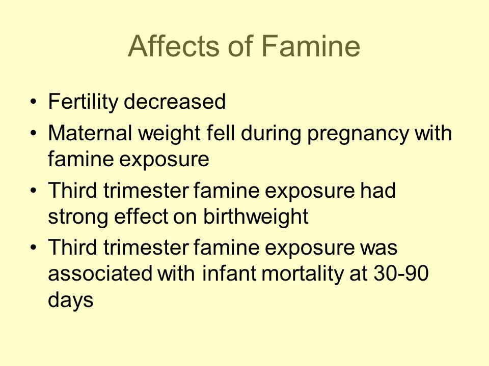 Affects of Famine Fertility decreased