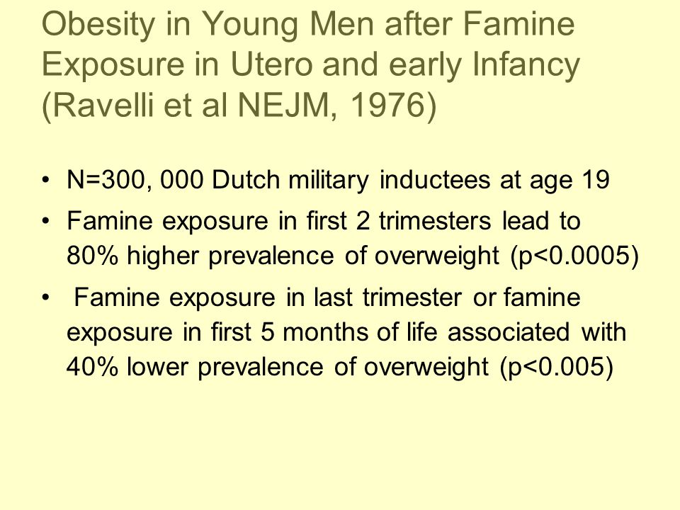 Obesity in Young Men after Famine Exposure in Utero and early Infancy (Ravelli et al NEJM, 1976)