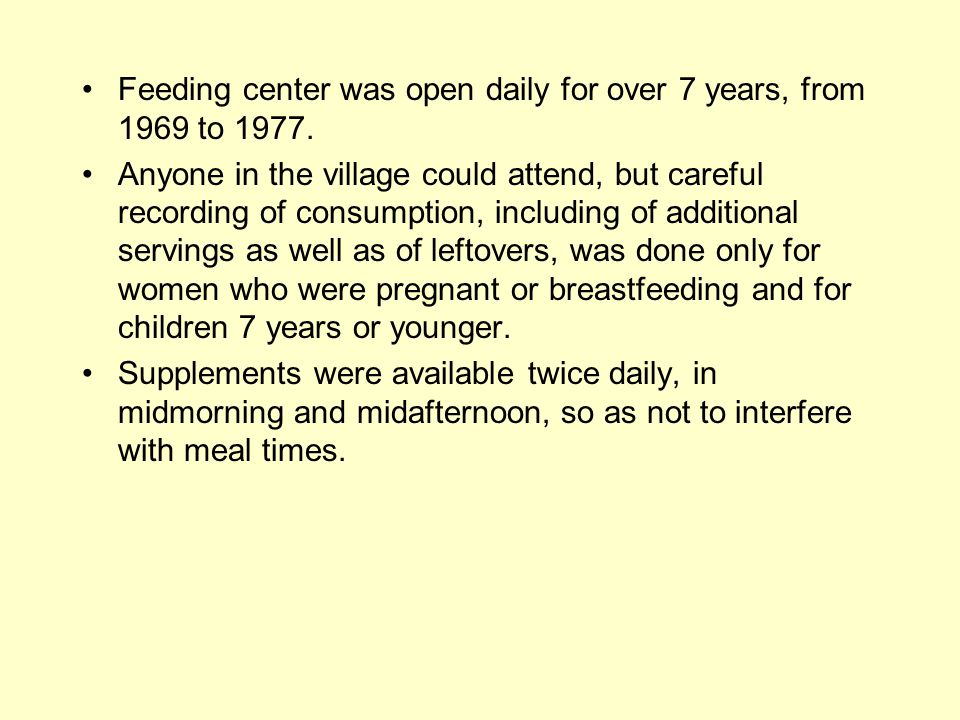 Feeding center was open daily for over 7 years, from 1969 to 1977.