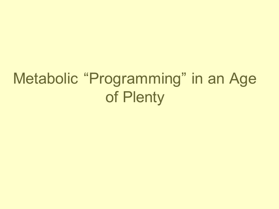 Metabolic Programming in an Age of Plenty