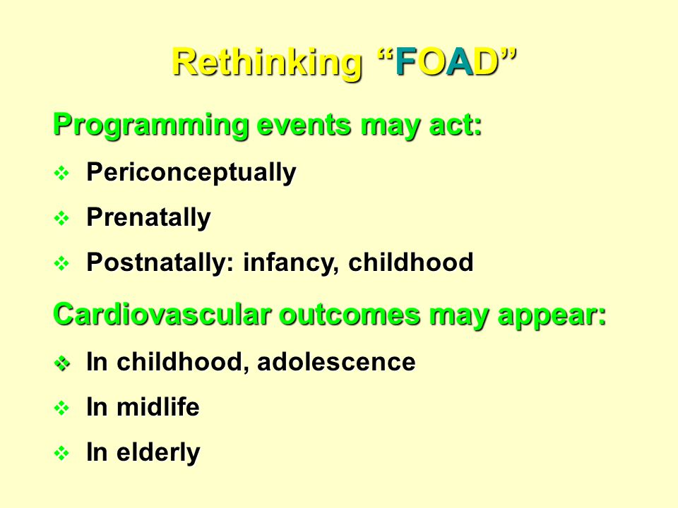 Rethinking FOAD Programming events may act: