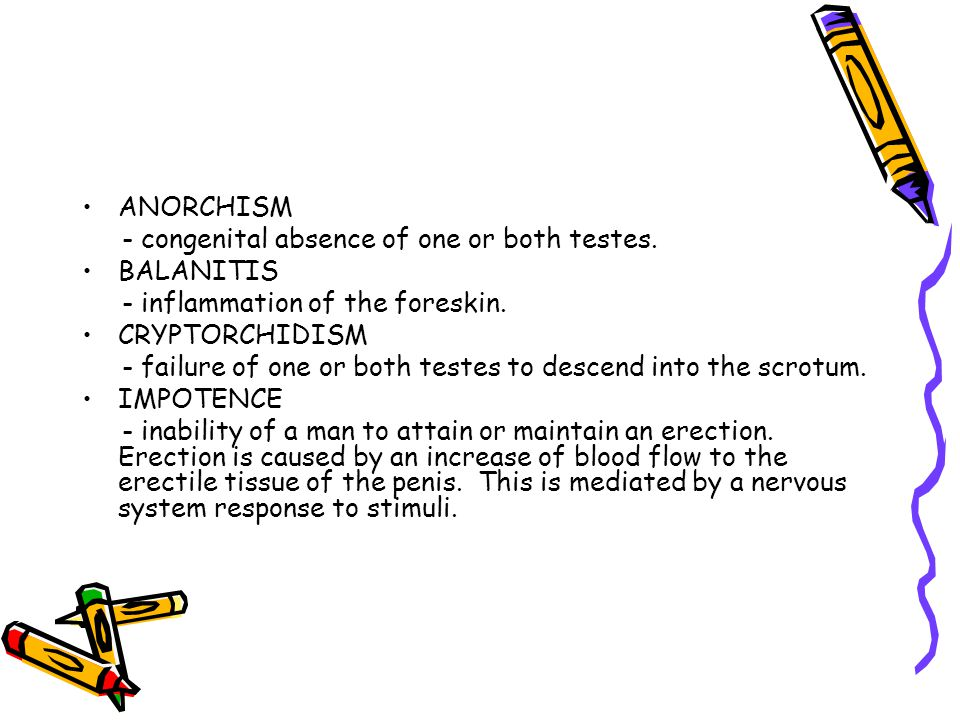 ANORCHISM - congenital absence of one or both testes. BALANITIS. - inflammation of the foreskin. CRYPTORCHIDISM.