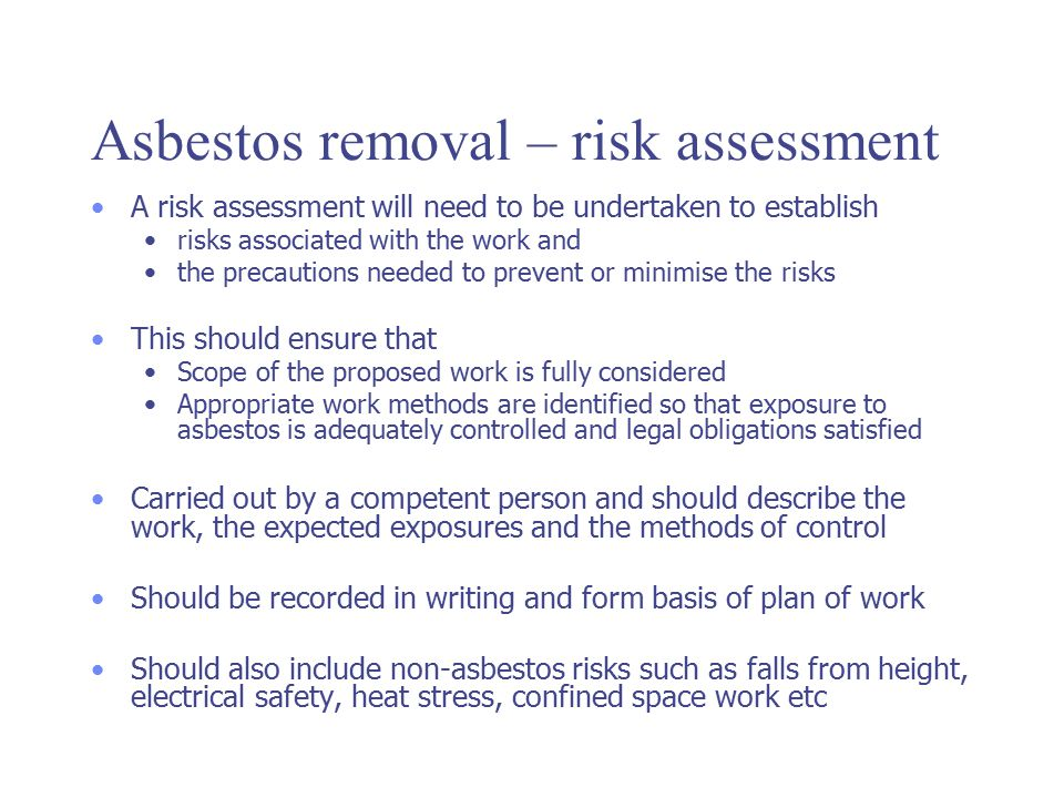 Asbestos removal – risk assessment