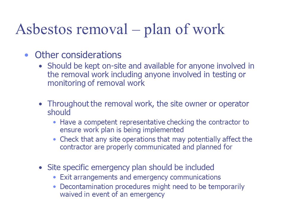 Asbestos removal – plan of work