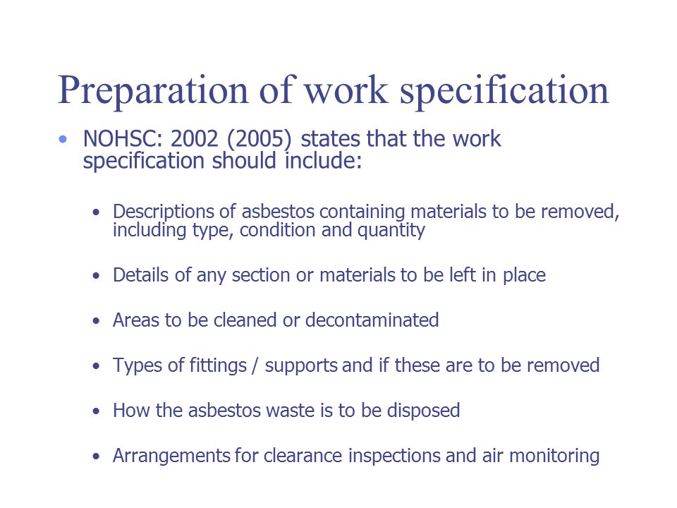 Preparation of work specification