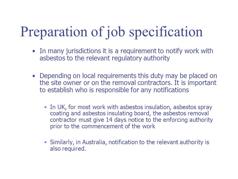 Preparation of job specification