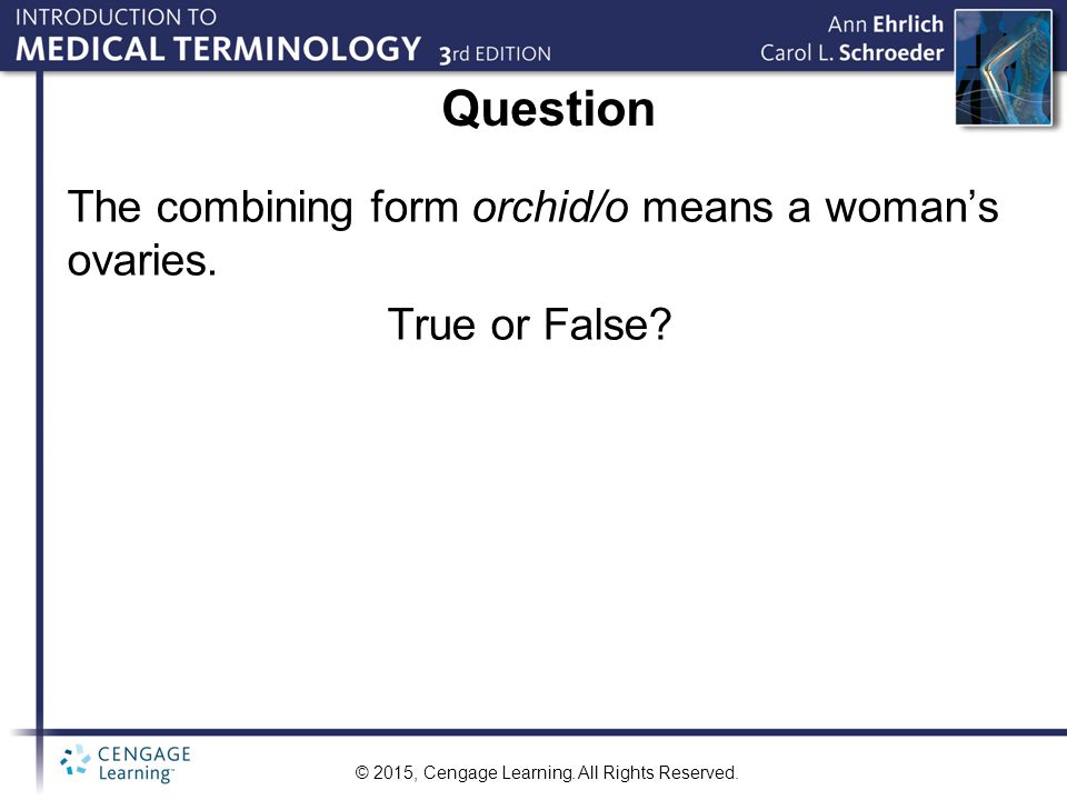 Question The combining form orchid/o means a woman's ovaries.