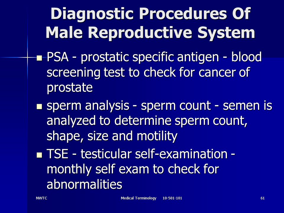 Diagnostic Procedures Of Male Reproductive System