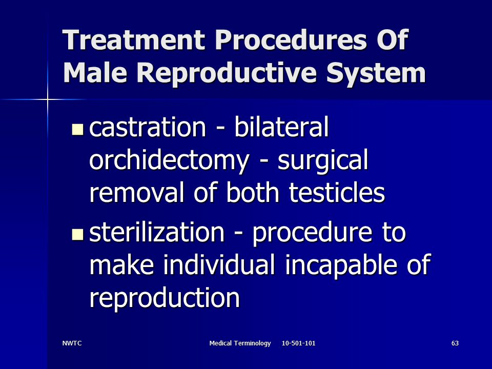 Treatment Procedures Of Male Reproductive System