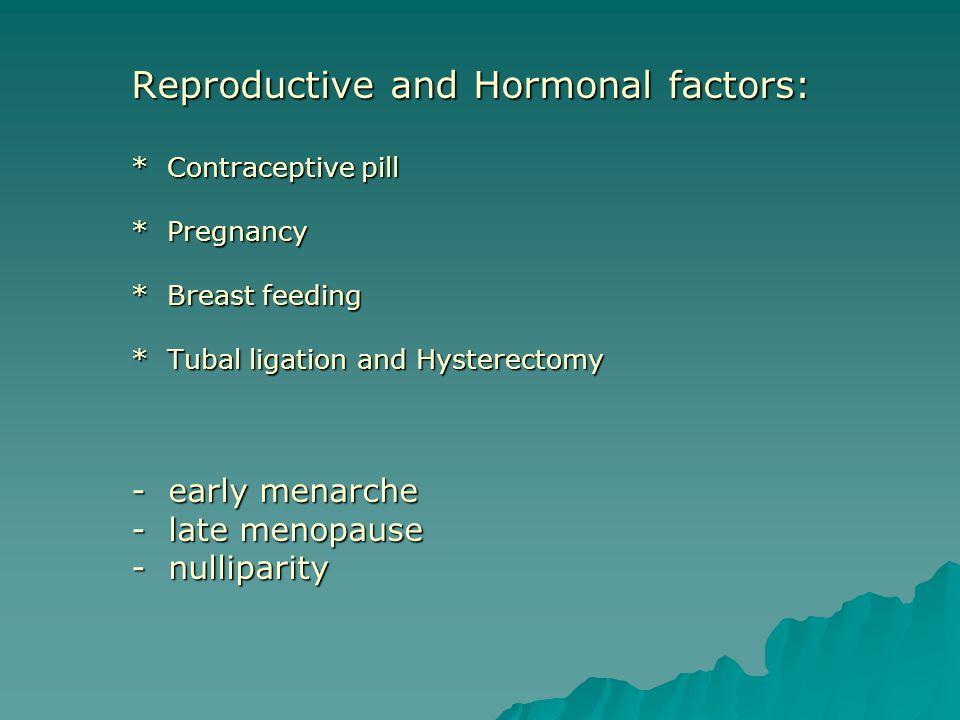 Reproductive and Hormonal factors:. Contraceptive pill. Pregnancy