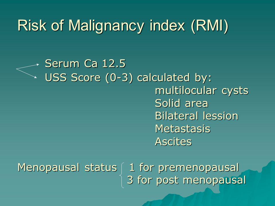 Risk of Malignancy index (RMI). Serum Ca 12. 5