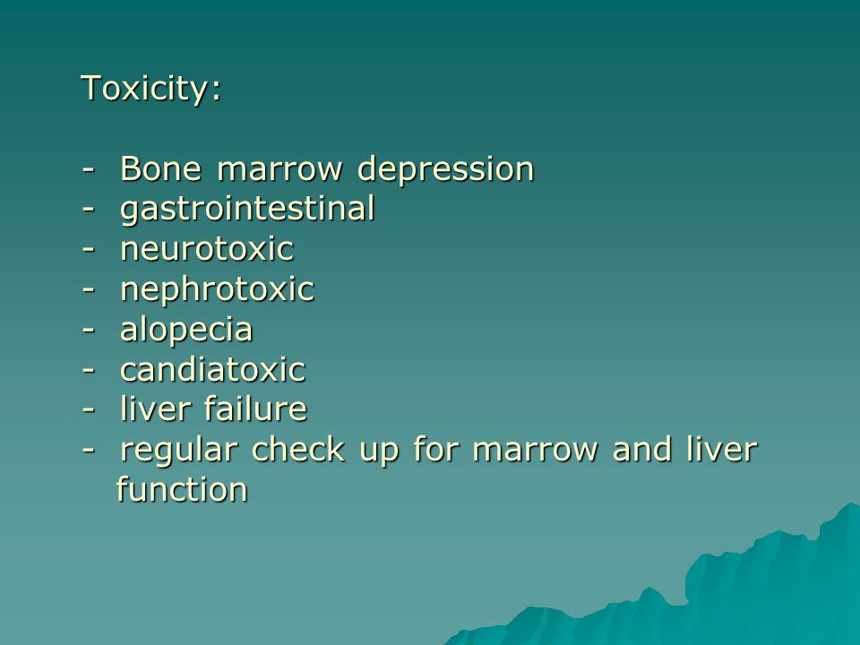 Toxicity: - Bone marrow depression - gastrointestinal - neurotoxic - nephrotoxic - alopecia - candiatoxic - liver failure - regular check up for marrow and liver function