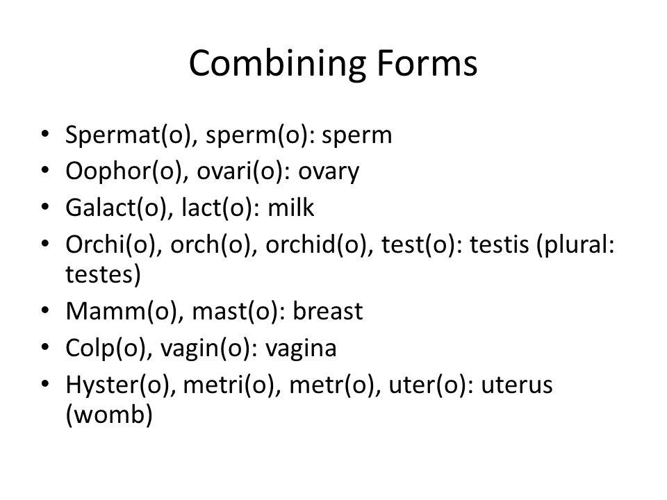 Combining Forms Spermat(o), sperm(o): sperm Oophor(o), ovari(o): ovary