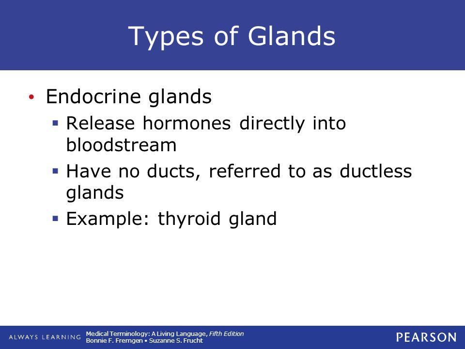 Types of Glands Endocrine glands