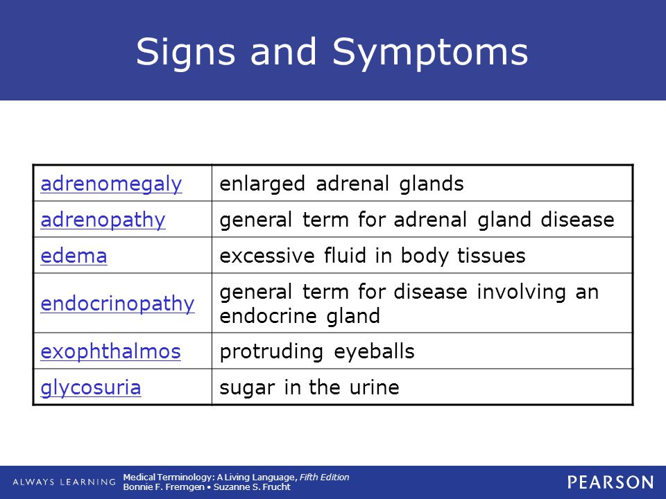 Signs and Symptoms adrenomegaly enlarged adrenal glands adrenopathy
