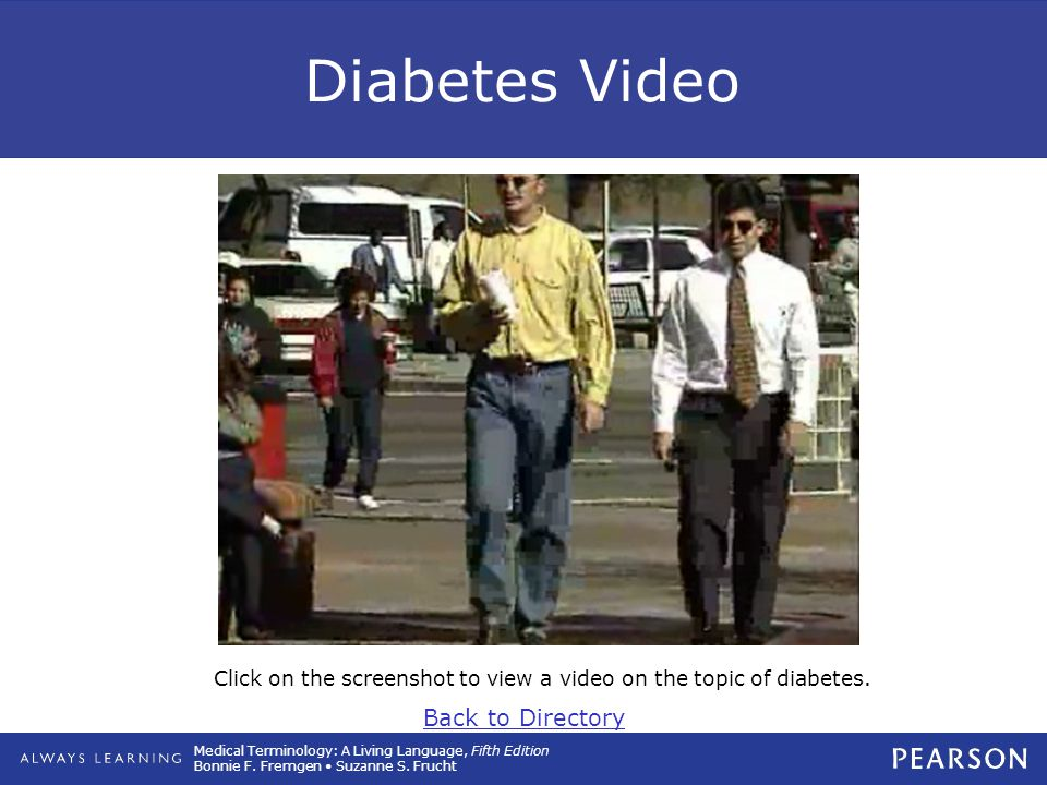 Click on the screenshot to view a video on the topic of diabetes.