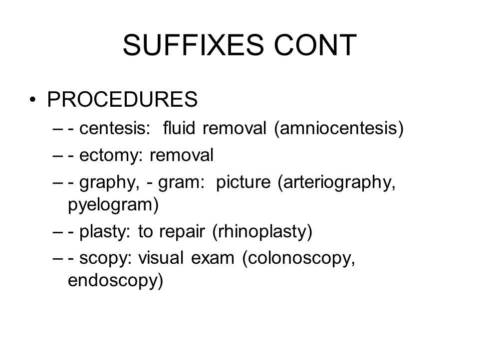 SUFFIXES CONT PROCEDURES - centesis: fluid removal (amniocentesis)