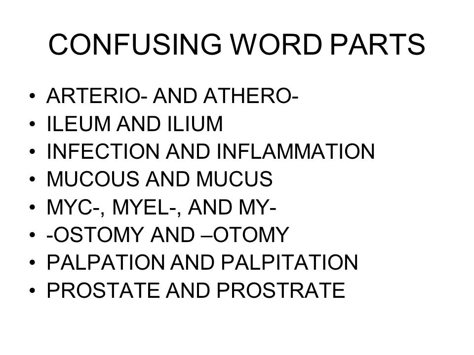 CONFUSING WORD PARTS ARTERIO- AND ATHERO- ILEUM AND ILIUM