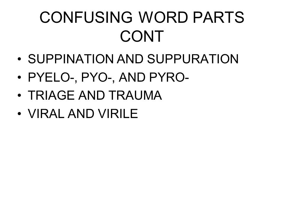 CONFUSING WORD PARTS CONT