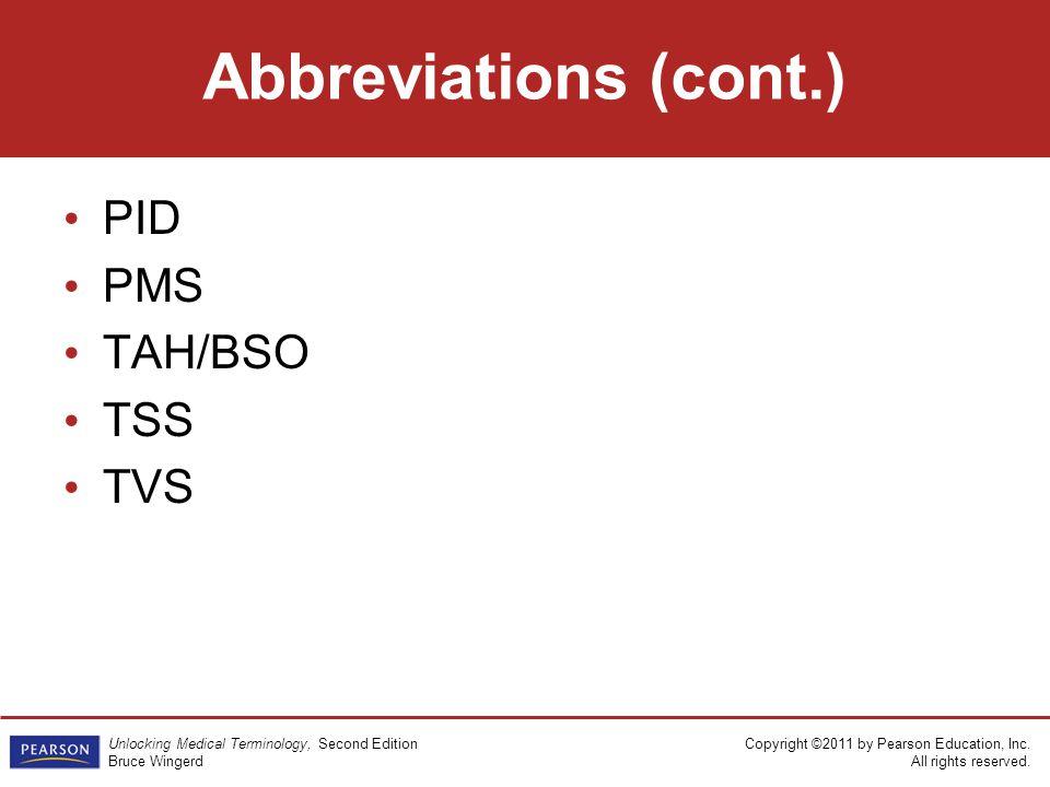 Abbreviations (cont.) PID PMS TAH/BSO TSS TVS 130