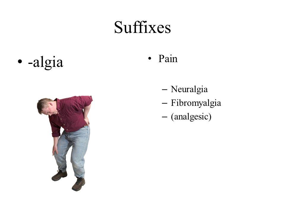 Suffixes -algia Pain Neuralgia Fibromyalgia (analgesic)