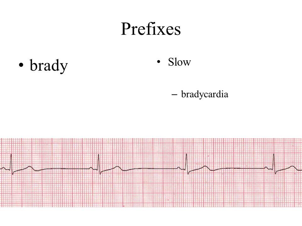 Prefixes brady Slow bradycardia