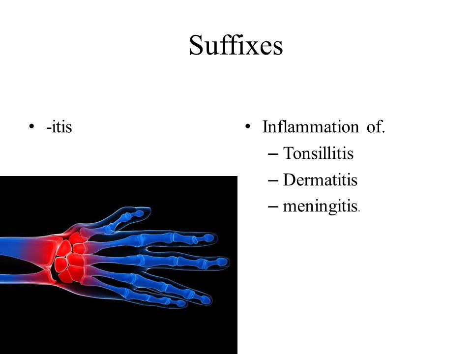 Suffixes -itis Inflammation of. Tonsillitis Dermatitis meningitis.