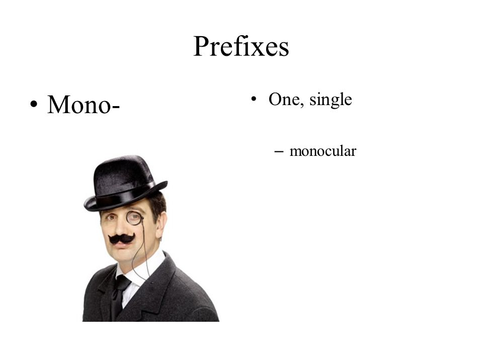Prefixes Mono- One, single monocular