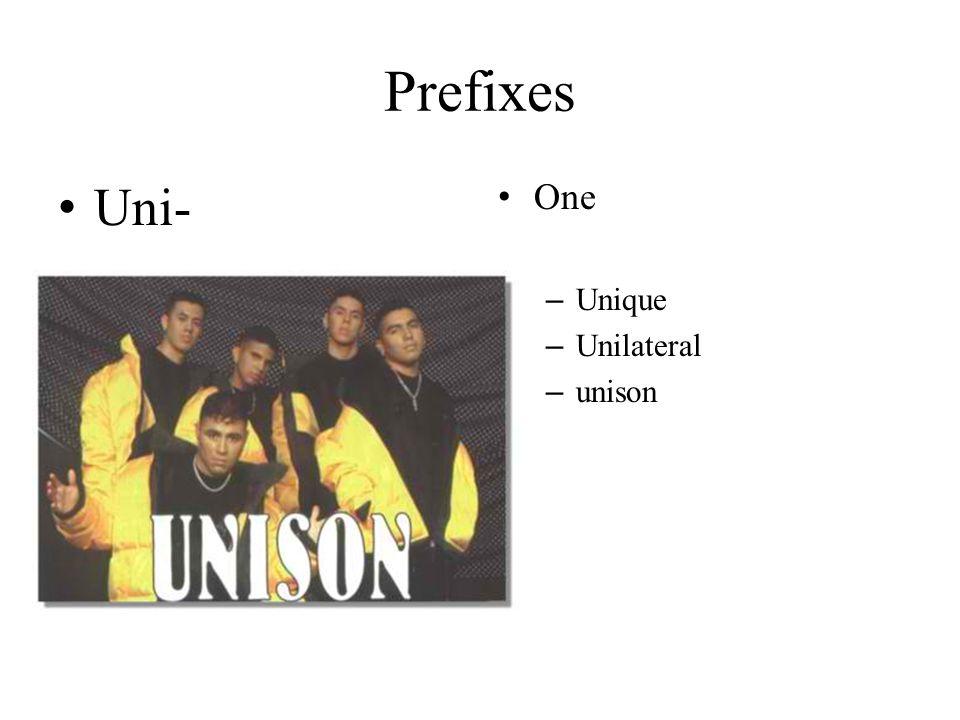 Prefixes Uni- One Unique Unilateral unison