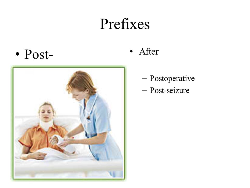 Prefixes Post- After Postoperative Post-seizure