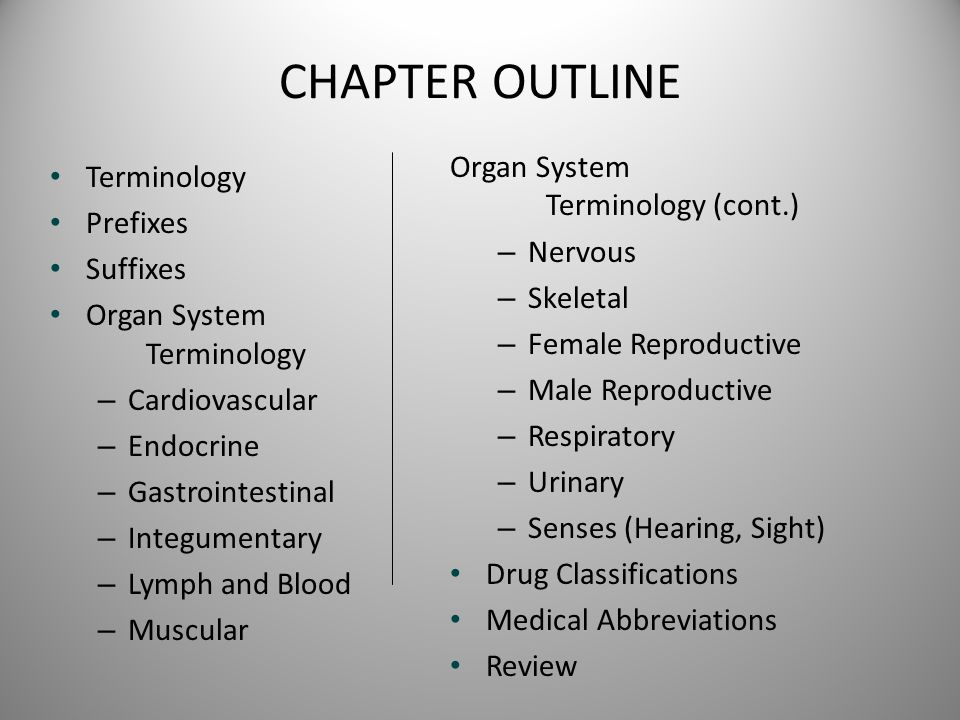 CHAPTER OUTLINE Organ System Terminology (cont.) Terminology Nervous