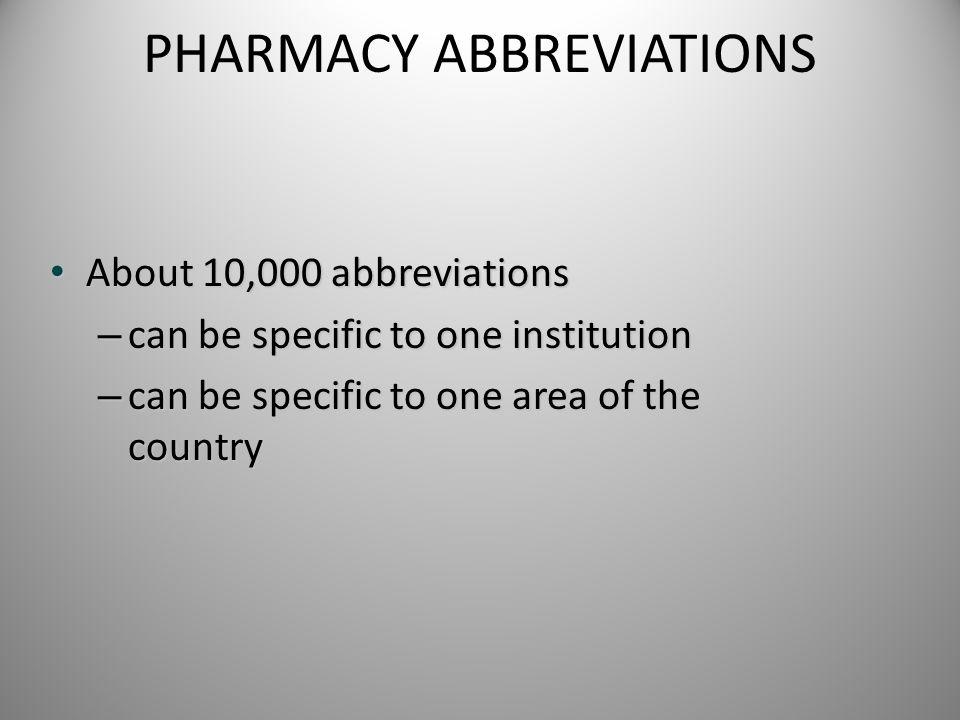 PHARMACY ABBREVIATIONS