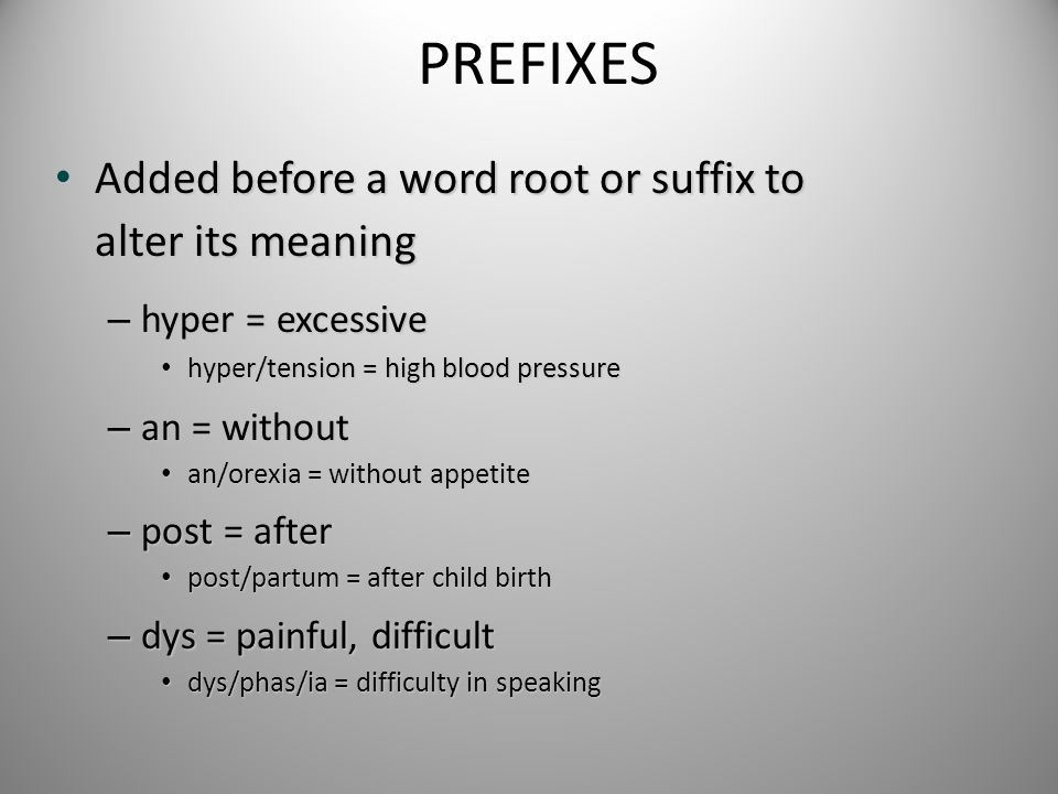 PREFIXES Added before a word root or suffix to alter its meaning