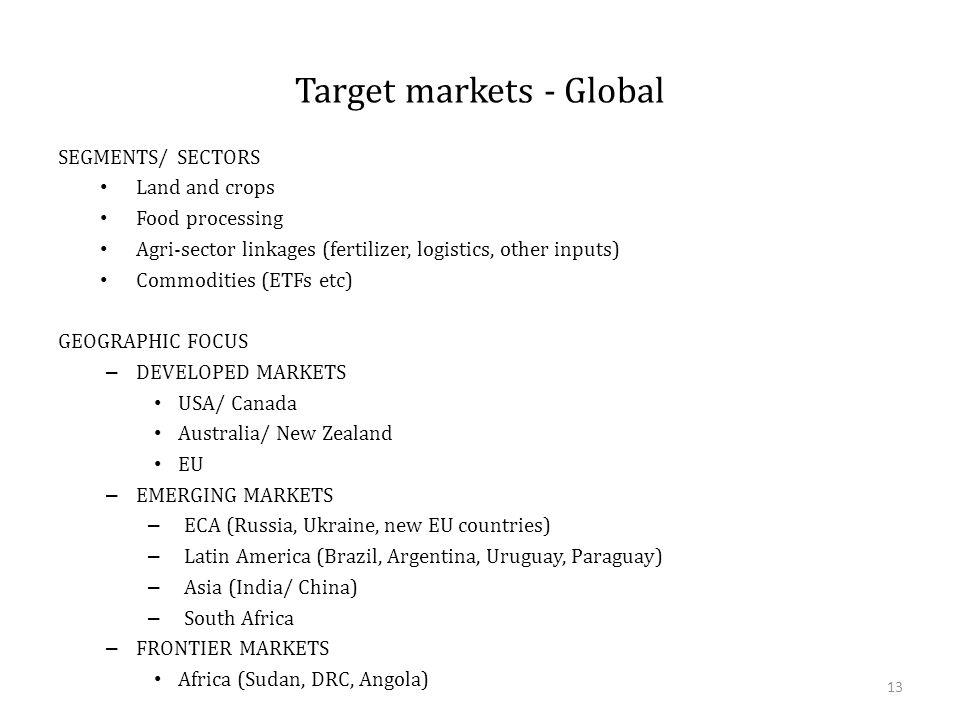 Target markets - Global