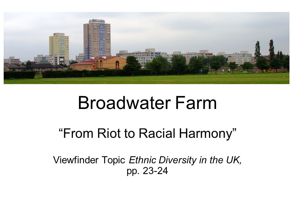 Broadwater Farm From Riot to Racial Harmony Viewfinder Topic Ethnic Diversity in the UK, pp.