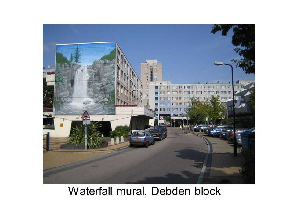 Waterfall mural, Debden block