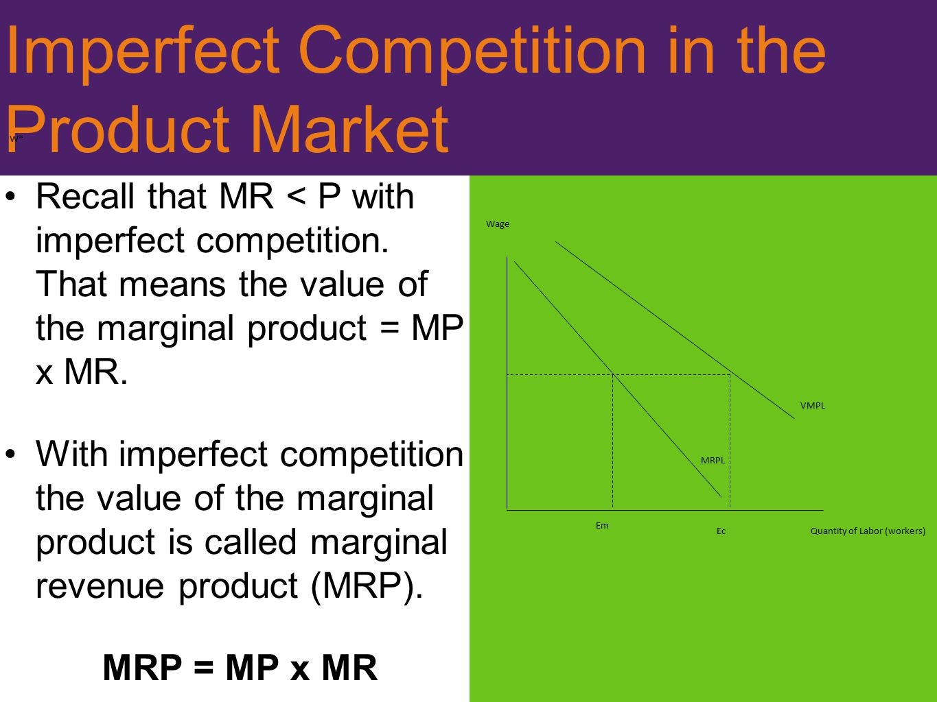 Imperfect Competition in the Product Market