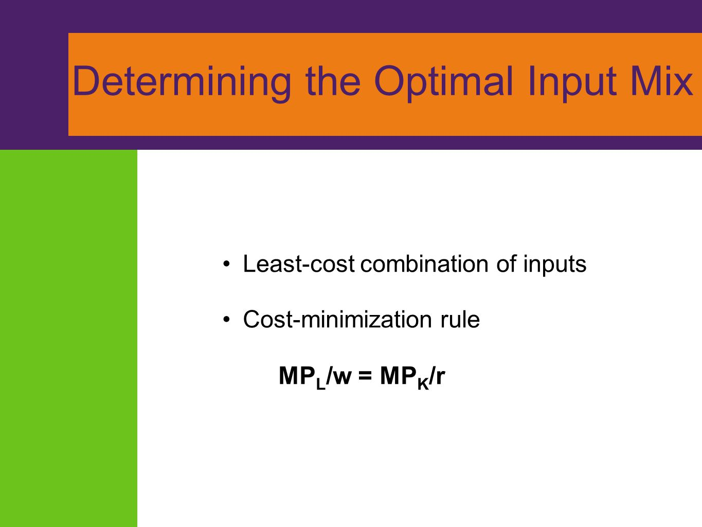 Determining the Optimal Input Mix